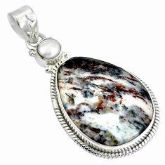 Clearance Sale- Natural bronze astrophyllite (star leaf) 925 silver pendant d28422