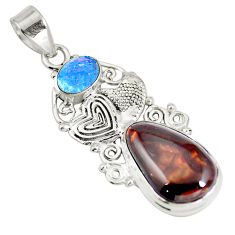 Clearance Sale- Natural multi color mexican fire agate 925 silver couple hearts pendant d28473