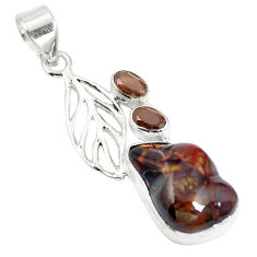 925 sterling silver natural multi color mexican fire agate pendant d28474