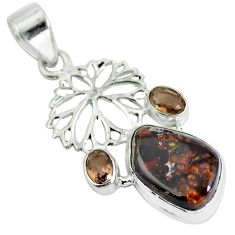 Clearance Sale- Natural multi color mexican fire agate 925 silver pendant jewelry d28475