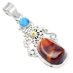 Natural multi color mexican fire agate 925 sterling silver pendant d28476