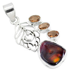 Natural multi color mexican fire agate 925 sterling silver pendant d28477