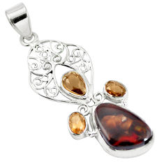 Natural multi color mexican fire agate 925 sterling silver pendant d28478