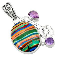 Clearance Sale- Natural multi color rainbow calsilica amethyst 925 silver pendant d2848
