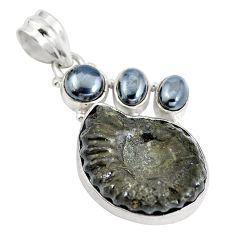 Natural black pyrite ammonite hematite 925 silver pendant d28481
