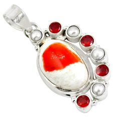 Natural multi color mexican fire opal garnet pearl 925 silver pendant d28504