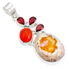 Natural multi color mexican fire opal onyx 925 silver pendant d28510
