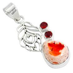 Natural multi color mexican fire opal garnet 925 silver pendant d28518