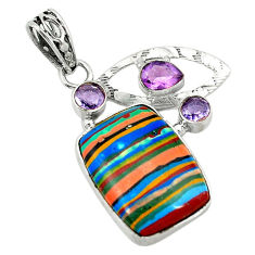 Clearance Sale- 925 sterling silver natural multi color rainbow calsilica amethyst pendant d2853