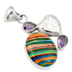 Clearance Sale- Natural multi color rainbow calsilica amethyst 925 silver pendant jewelry d2854