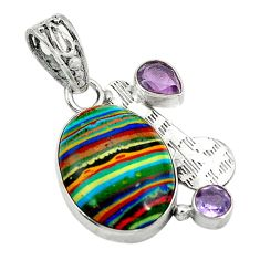 Clearance Sale- 925 silver natural multi color rainbow calsilica purple amethyst pendant d2855