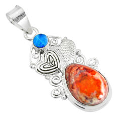 Clearance Sale- Natural multi color mexican fire opal 925 silver couple hearts pendant d28579