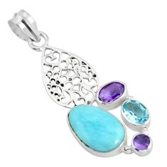 925 sterling silver natural blue larimar amethyst pendant jewelry d28584
