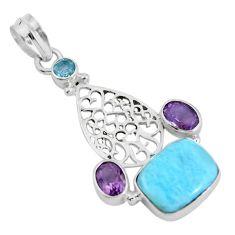 Clearance Sale- Natural blue larimar amethyst 925 sterling silver pendant jewelry d28595