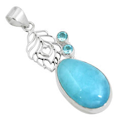 Natural blue aquamarine topaz 925 sterling silver pendant jewelry d28608