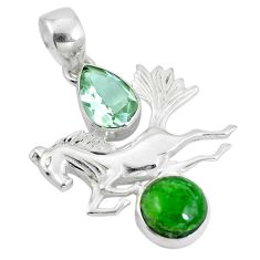Clearance Sale- Natural green chrome diopside amethyst 925 silver horse pendant d28609