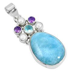 925 sterling silver natural blue aquamarine amethyst topaz pendant d28610