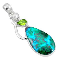 Natural green chrysocolla peridot 925 sterling silver pendant d28623
