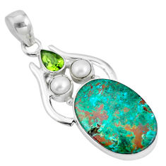 925 sterling silver natural green chrysocolla peridot pearl pendant d28624