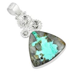 Natural green variscite 925 sterling silver pendant jewelry d28627