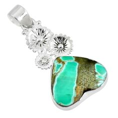 Natural green variscite heart 925 sterling silver pendant jewelry d28628