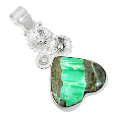 925 sterling silver natural green variscite heart pendant jewelry d28630