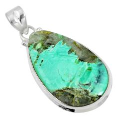 Natural green variscite 925 sterling silver pendant jewelry d28632