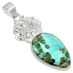 Clearance Sale- Natural green variscite 925 sterling silver pendant jewelry d28638