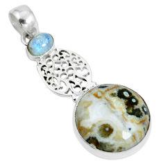 Natural multi color ocean sea jasper (madagascar) 925 silver pendant d28643