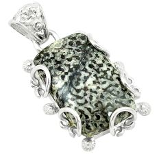 Clearance Sale- Natural black stingray coral from alaska 925 sterling silver pendant d2865