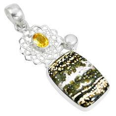 Natural multi color ocean sea jasper (madagascar) 925 silver pendant d28653