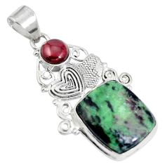 Natural pink ruby zoisite red garnet 925 sterling silver pendant d28654