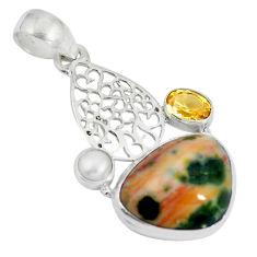 Natural multi color ocean sea jasper (madagascar) 925 silver pendant d28655