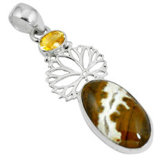 Natural multi color ocean sea jasper (madagascar) 925 silver pendant d28656