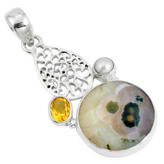 Natural multi color ocean sea jasper (madagascar) 925 silver pendant d28659