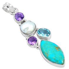 925 silver blue arizona mohave turquoise biwa white pearl pendant d28660