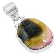 925 sterling silver natural pink bio tourmaline fancy pendant jewelry d28664