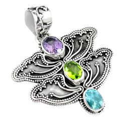 Clearance Sale- Natural purple amethyst peridot 925 sterling silver pendant d28688