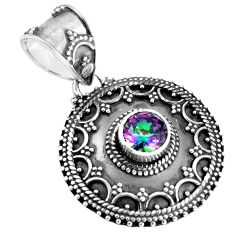 Clearance Sale- Multi color rainbow topaz 925 sterling silver pendant jewelry d28730