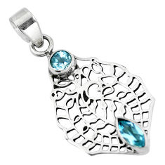 Natural blue topaz round 925 sterling silver pendant jewelry d28738