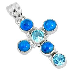 Clearance Sale- 925 silver natural blue apatite (madagascar) holy cross pendant jewelry d28744
