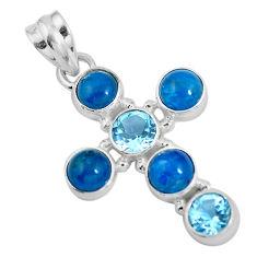 Natural blue apatite (madagascar) 925 silver holy cross pendant d28747