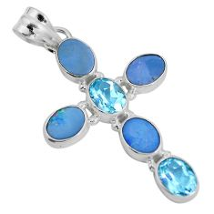 Clearance Sale- 925 silver natural blue doublet opal australian holy cross pendant d28750
