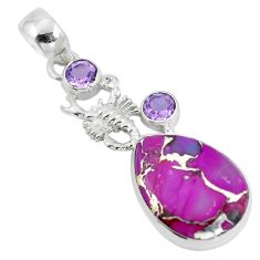 Purple copper turquoise amethyst 925 silver scorpion pendant d28764