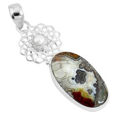 Natural multi color mexican laguna lace agate 925 silver pendant d28773