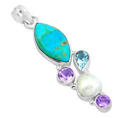Blue arizona mohave turquoise amethyst pearl 925 silver pendant d28774