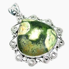 Natural green rainforest rhyolite jasper 925 silver pendant d28793