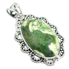 Clearance Sale- Natural green rainforest rhyolite jasper 925 silver pendant d28794