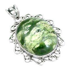 Natural green rainforest rhyolite jasper 925 silver pendant d28795