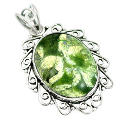 Natural green rainforest rhyolite jasper 925 silver pendant jewelry d28796